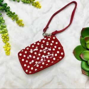 Thirty-One Red White Polka Dot Wristlet Wallet